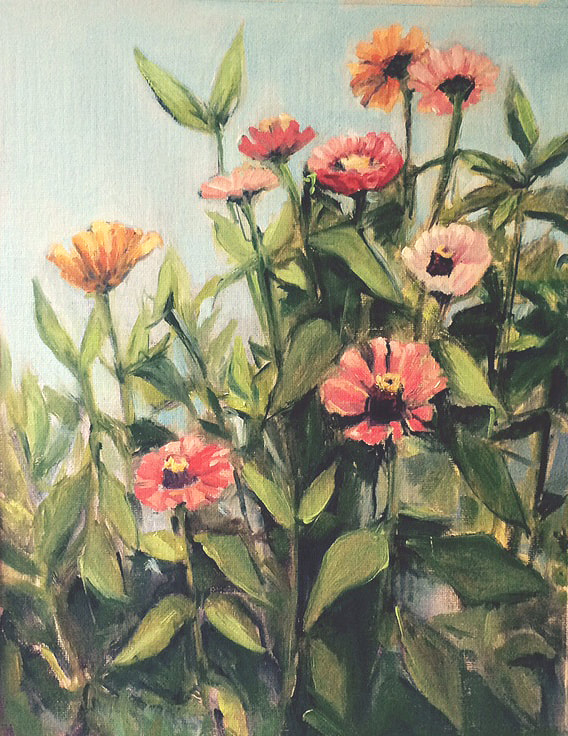 Zinnia Painting by Meredith Reynells