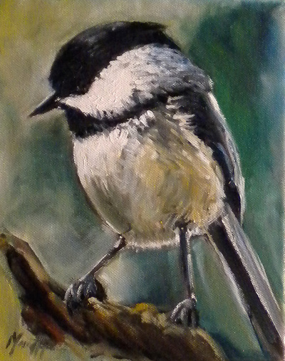 Chickadee painting by Meredith Reynells