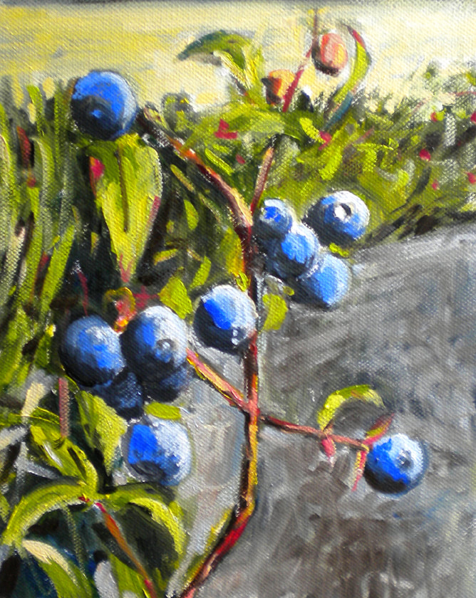 Back Yard Blueberries painting by Meredith Reynells