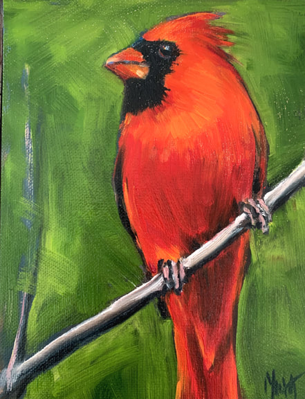 Male Red Cardinal oil painting by Meredith Reynells