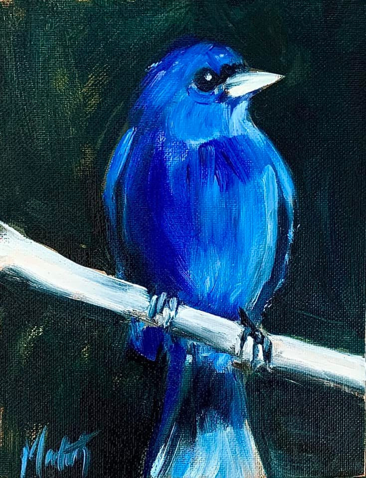 Indigo Bunting painting by Meredith Reynells