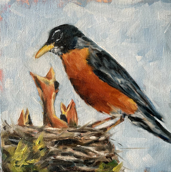 Spring Robins Painting by Meredith Reynells